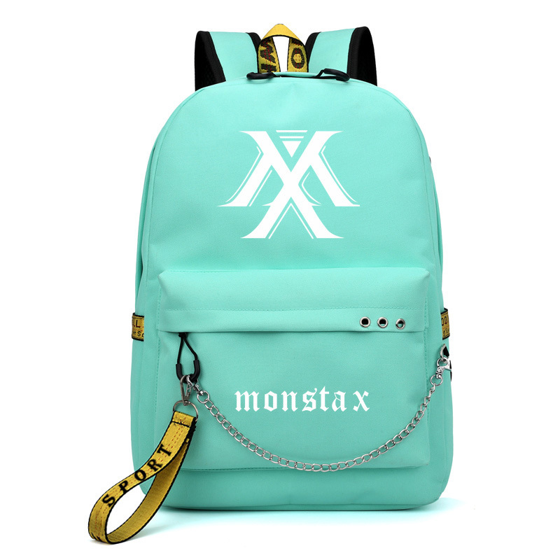 MONSTA X I.M Shownu Printing Backpack Korean Fashion Women Pink Backpack Canvas School Bags For Teenage Girls Laptop Backpack