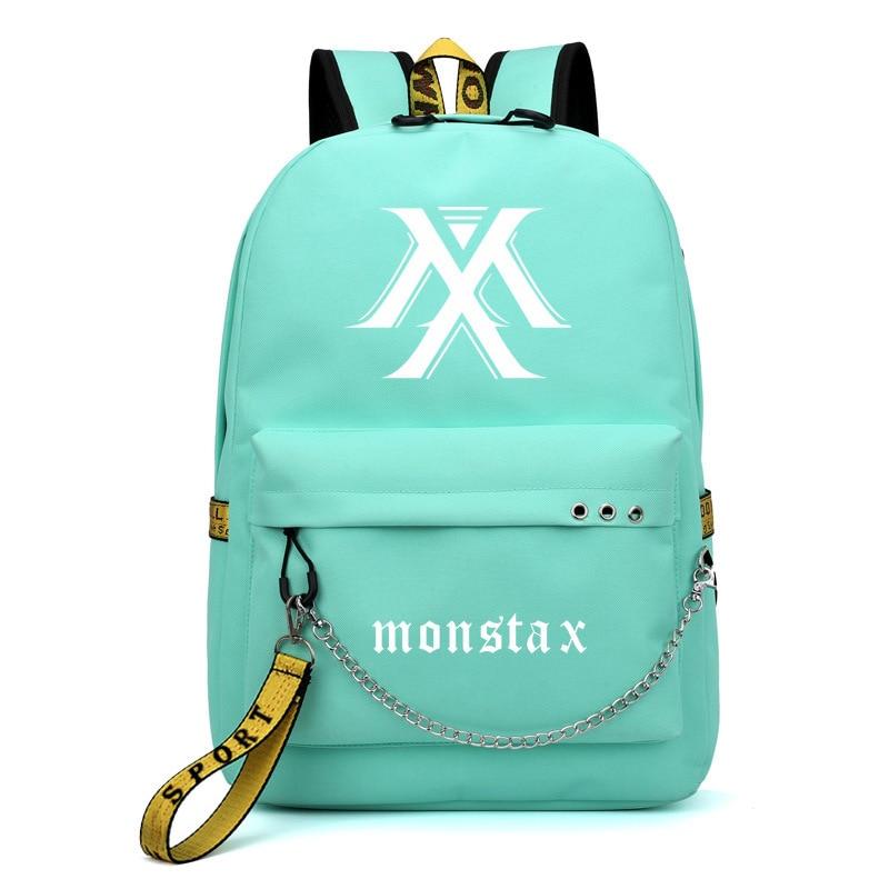 MONSTA X I.M Shownu Printing Backpack Korean Fashion Women Pink Backpack Canvas School Bags For Teenage Girls Laptop Backpack