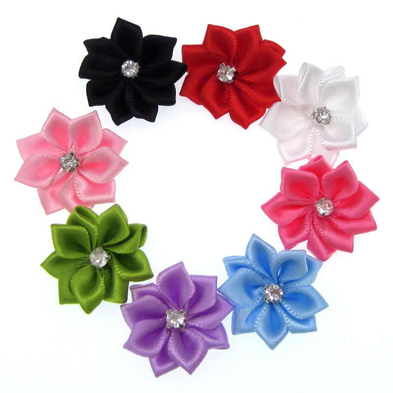 40pcs Handmade mix small satin flowers fabric flower rhinestone for craft  wedding appliques accessories 28mm db504ac27cb6