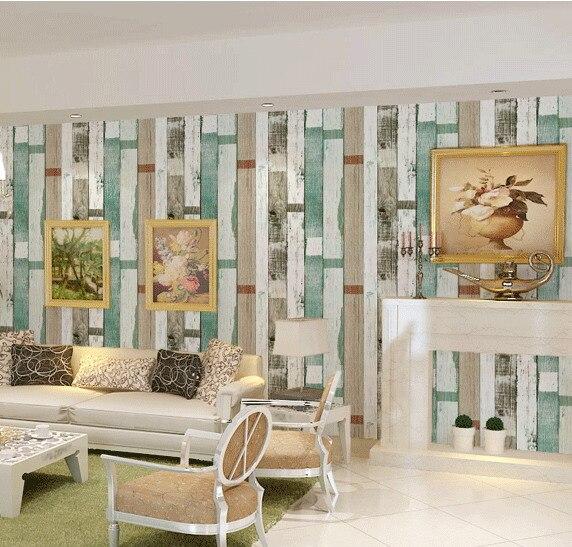 Papier peint à rayures en bois antique de style américain coloré méditerranéen