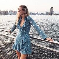 WISHBOP 2018 Summer Blue Silk White Dot Print Mini Wrap Dress V neck Ruffles Detail Waist Ties Fastening Long Sleeves