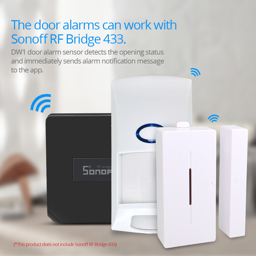 все цены на SONOFF 433MHZ RF Bridge Wifi Door Window Motion Sensor DW1 Wireless Detector PIR2 433 Alarm Remote Smart Home Security System