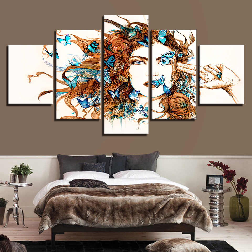 HD Printing Wall Art Modern 5 Pieces Beautiful Woman And ...
