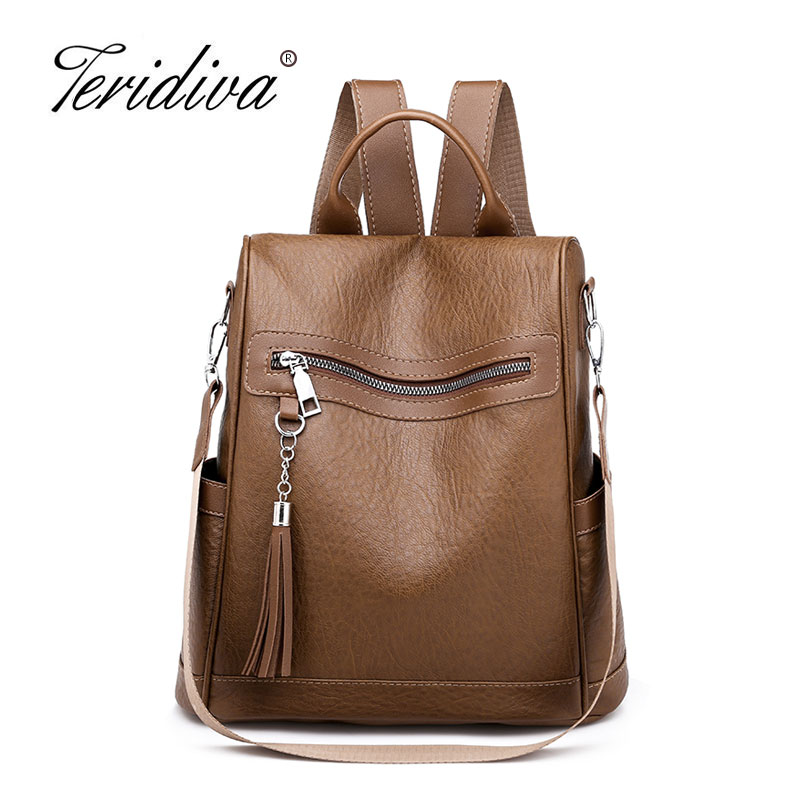 Women Backpacks Women's Leather Backpacks Female School Backpack Women Shoulder Bags for Teenage Girls Travel Back Tassel Bag mva fashion women backpack leather backpacks for teenage girls school shoulder bag small lady travel laptop backpacks female bag href page 2 page 3