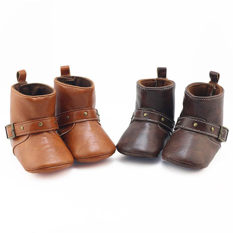 2017 New Brown Baby Classic Cowboy Boots PU Buckle Soft Soled Baby Girl Boy Winter Boots Infant Toddler Shoes First Walkers