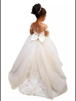 Bow Lace Applique Flower Girl Dress Lace Vintage Dresses For Party Custom Made Princess Tutu with Train