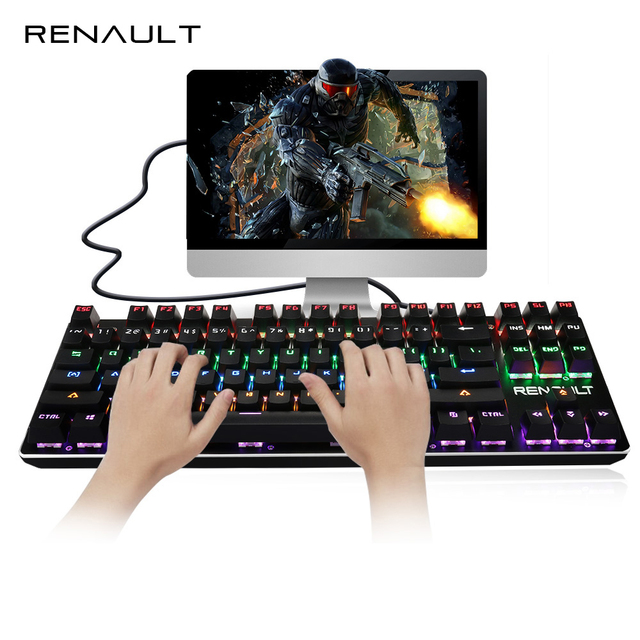 RENAULT Mechanical Keyboard 87 Keys Backlit with Blue Switch Gaming Keyboard for PC Anti-ghosting LED Backlight Teclado Gamer
