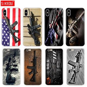 Cubierta de silicona del teléfono carcasa para iPhone 6X8 7 6s 5s 5S SE Plus 10 XR XS Max caso Rifles AR 15 armas