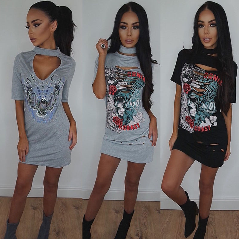 2017 Newest Summer Mini Dress Sexy Hollow Out Chest Casual Dress Ladies Choker Neck Printing Mini Dress Long Top T-Shirt