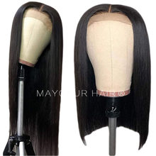 Maycaur Black Color Gluless Synthetic Lace Front Wigs Short Cut Bob Hair For Black Women Long Straight Wig with Natural Hairline(China)