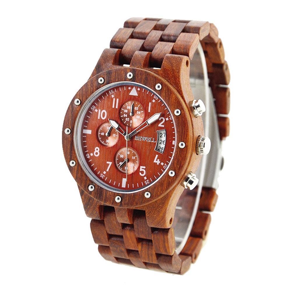 BEWELL Men Luminous 6-Pointer Wooden Watch with Calendar Stylish Quartz Wristwatch Ornament Gift bewell 2016 fashion wood quartz watch luminous pointer calendar men wristwatch waterproof watches relogio masculino