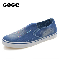 GOGC 2016 Designer Denim Shoes With Crystal Canvas Shoes Women Causal Shoes For Summer Female Flat