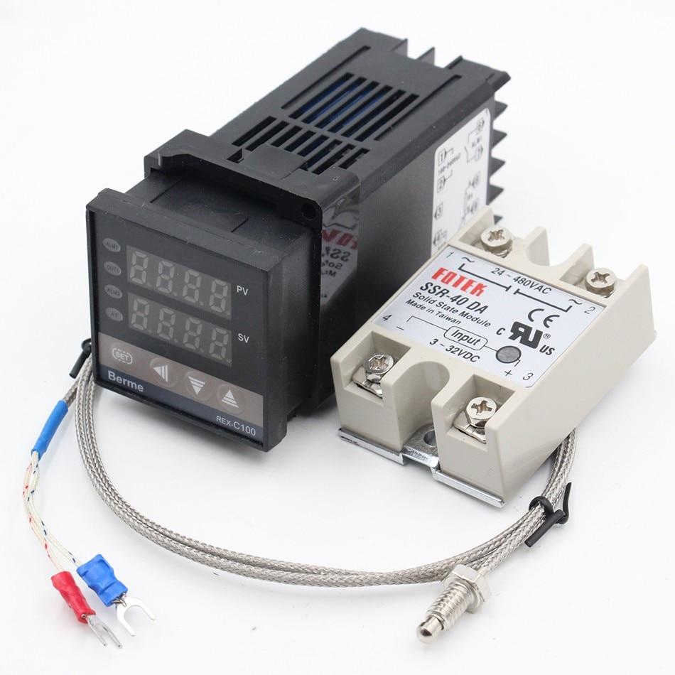 Dual Digital Temperature Controller Thermostat REX-C100 with K Thermocouple Sensor Probe digital thermostat 220v temperature controller thermocouple sensor termostato digitale thermometre estacion metereologicamh1210a