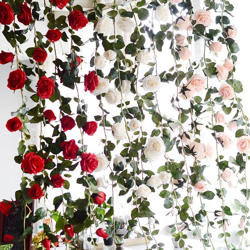 180cm Pergola Para Jardin Artificial Flower Australian Rose Rattan Home Decoration Fake Flower Wedding Arch Mariage Supplies 1pc