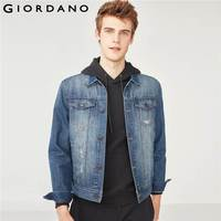 Giordano Men Jacket Denim Slim Hole Jacket Turn Down Collar Button Distressed Chaqueta Male Tops Macho Brand Clothes