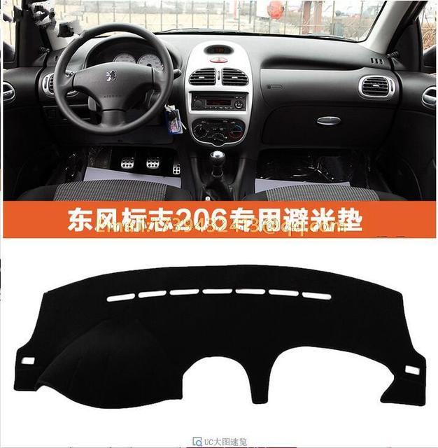 Dashmats de voiture accessoires de coiffure dashboard couverture pour  peugeot 206 2001 2003 2005 2007 2008