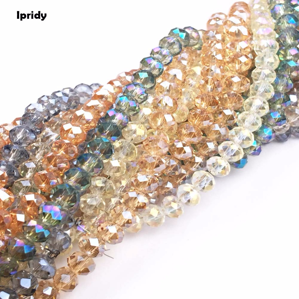 48 Cutting Face Tyre Crystal Beads Charm Faceted Glass Beads Rondelles Loose Spacer Bead  For DIY Jewelry Making