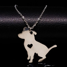 Handmade Memorial Dog Necklace Heart Pet Stainless Steel Animal Punk Necklaces For Women Jewelry Gift collares largos N72214B