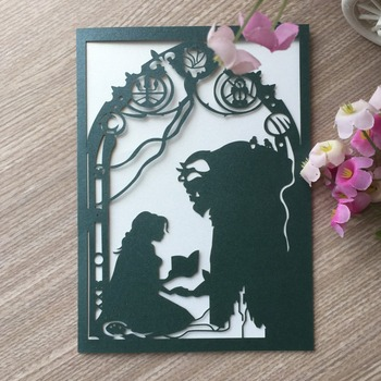 100Pcs Unique Romantic  fairy tale theme Birthday Love Door Aniversary Valentine's Day Wedding Invitations Greeting Cards Gifts