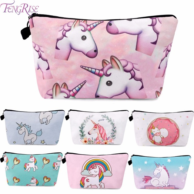 FENGRISE Unicorn Cosmetic Bags 3D Printing Girls Lady Makeup Party Favors Girl Birthday Gifts Women Supplies