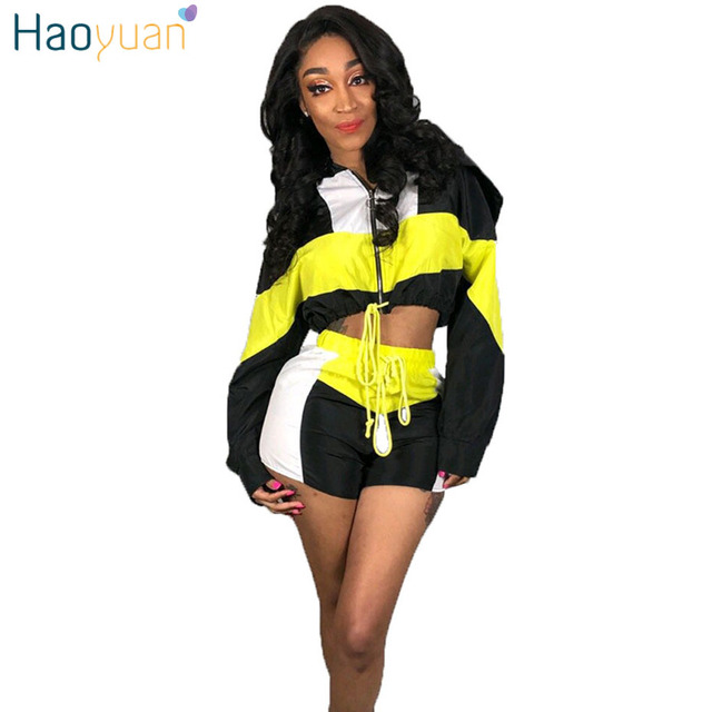 7efa8e5091d HAOYUAN Two Piece Set Tracksuit Women Clothes Festival Crop Top and Biker  Shorts Sweat Suits Sexy Club Outfits Matching Sets