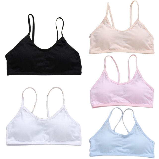 d267b9f4eb9ad Girls Bra Teen Girls Underwear Soft Padded Cotton Bra Young Girls for Yoga  Sports Vest One