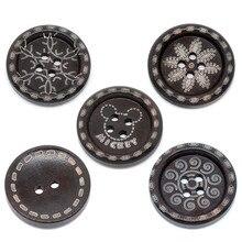 300Pcs Dark Brown Round Wood Buttons Pattern DIY Sewing Crafts Scrapbook Making 25mm цена