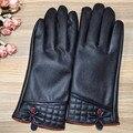 Las mujeres calientes del invierno guantes de cuero para mujeres de las señoras negro forrada de piel Guantes espesantes guantes de cuero genuinos femenina