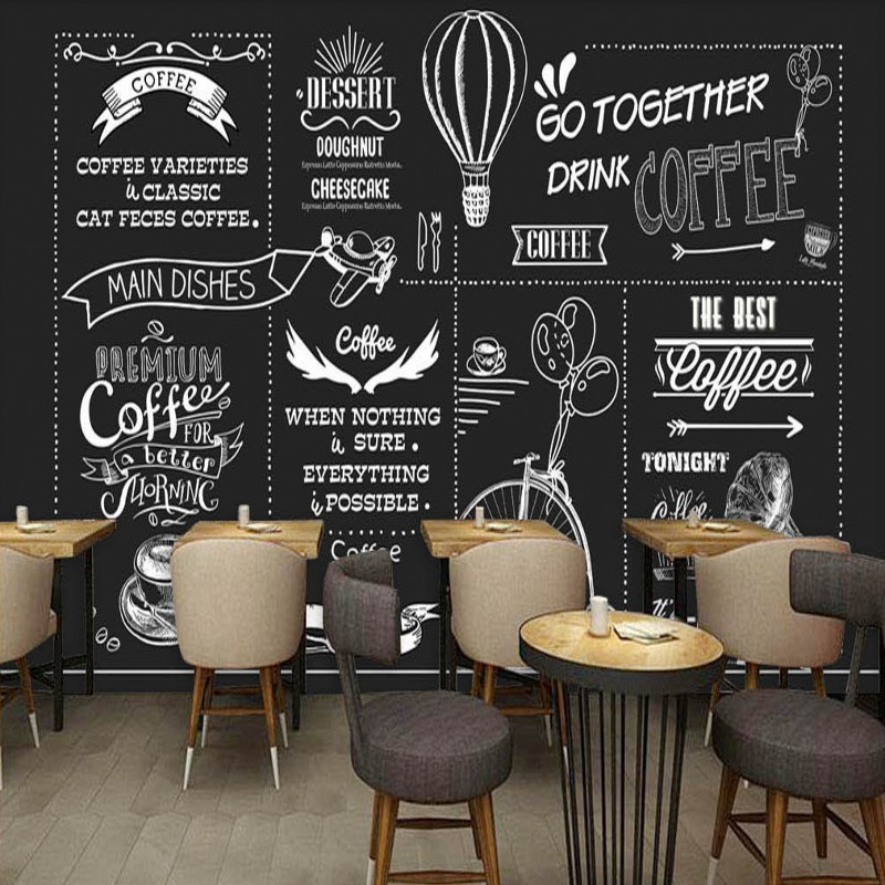 Buy photo wallpaper european american for Mural coffee shop