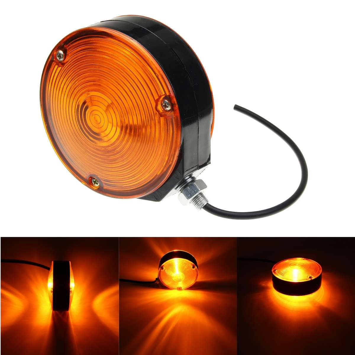 24V 10mm M10 Universal LED Clearence Indicator Side Marker Light Double Side Lamp For Truck Trailer Boat Bus Amber