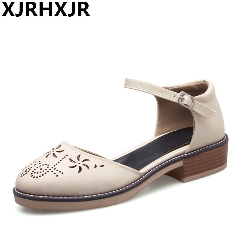 XJRHXJR 2018 Round Toe Cut-outs Platform Rome Women Shoes Fashion Lady Buckle Popular Woman Sandals Summer Casual Big Size 34-43 phyanic 2017 summer new women sandals with chain women buckle strap flat platform summer casual shoes woman phy3413