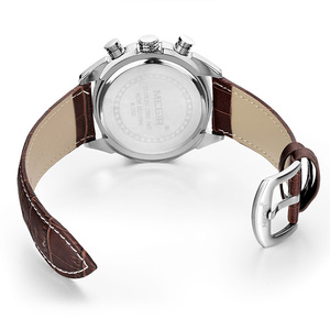 Image 2 - Relogio masculino megir 캘린더 크로노 그래프 밀리터리 시계 남성 캐주얼 스포츠 정품 가죽 시계 시간 시계 남성