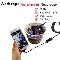 7MM 1M Mini Usb Android Inspection Endoscope Camera Underwater Endoscopio Tube Snake Micro Cameras 6Led For
