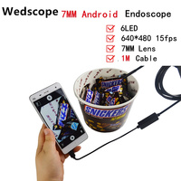 7MM 1M Mini Usb Android Inspection Endoscope Camera Underwater Endoscopio Tube Snake Micro Cameras 6Led For