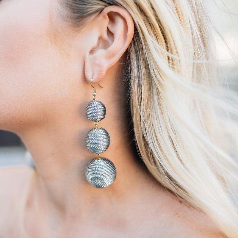 JUJIA 2017 Ethnic Long Ball Pom Pom Earrings Handmade Statement Drop Earrings For Women Jewelry pendientes flecos