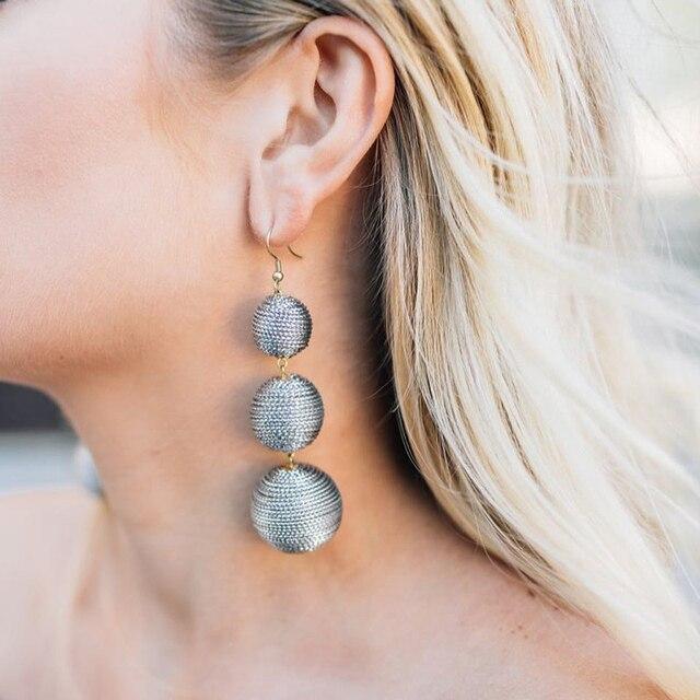 JUJIA 2019 ethnique longue balle Pom Pom boucles d'oreilles à la main déclaration boucles d'oreilles pour femmes bijoux pendientes flecos