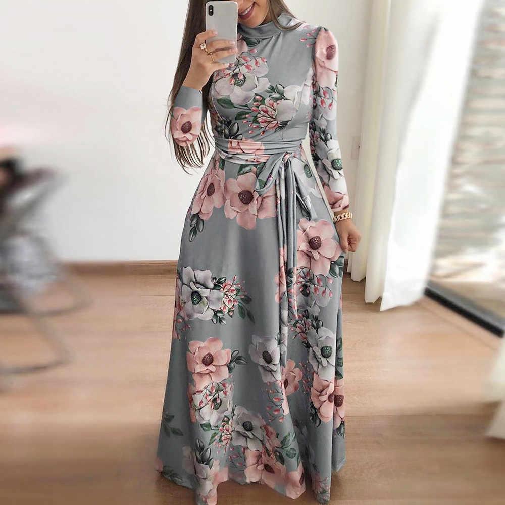 74b5903255 Feitong Boho Womens Maxi Dresses Ladies Holiday Long Sleeve Floral Printed  Bandage Bodycon Long Dress vestidos