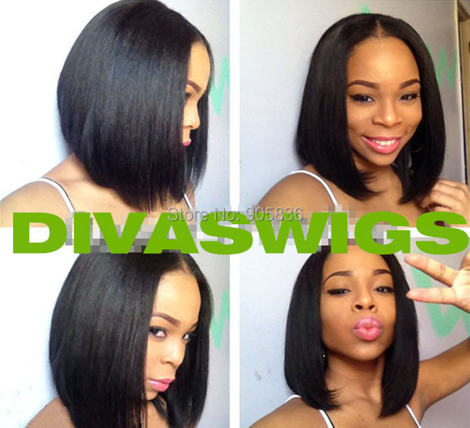 Beautiful Natural Black Bob Straight Hairstyle Center U Part