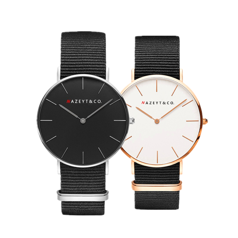 Nazeyt new fashion black nylon couple quartz watch woman men teenager British style along lover watch Valentines Day gift clockNazeyt new fashion black nylon couple quartz watch woman men teenager British style along lover watch Valentines Day gift clock