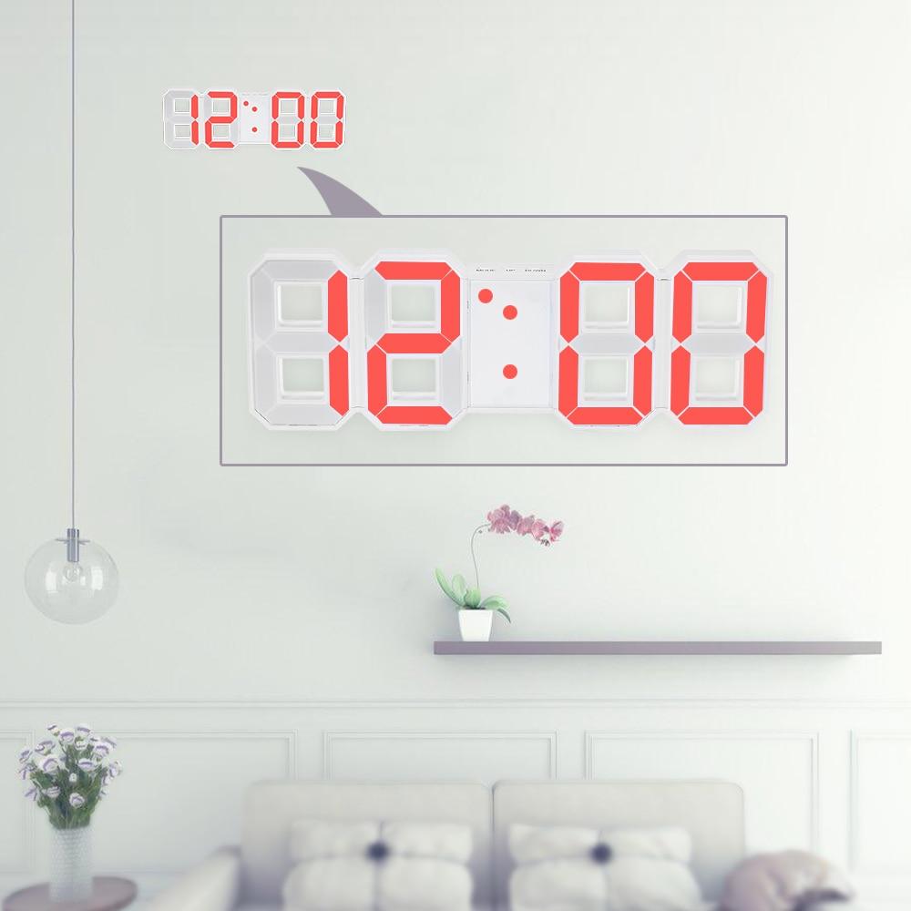 Reloj de pared Digital LED grande multifuncional Pantalla de 12 H/24 H con función de alarma y despertador Reloj de pared de luminancia ajustable