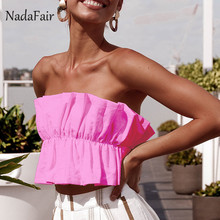 f7111b4dea9d08 Nadafair ruffles sexy summer crop tops women ruched backless lace up  strapless club sexy tops women