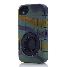 Shockproof Heavy Duty Hybird Armor Rugged Ring Holster Cover With Stand Case For Apple iphone 4 4S Free Shipping