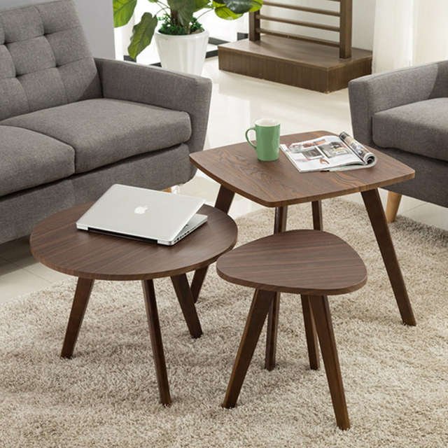 Simple Modern Solid Wood Small Coffee Table Living Room Coffee Table  Wholesale Mini Round Tea Table