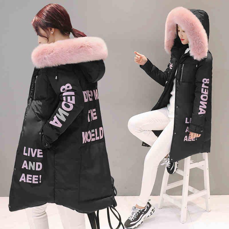 Удлиненная модная зимняя куртка с мехом и надписями