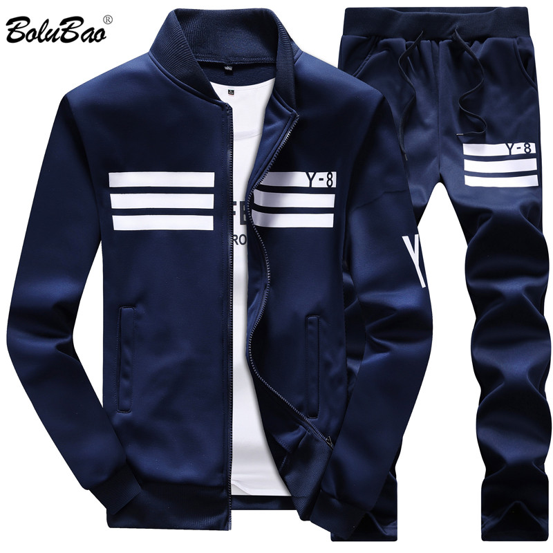 Bolubao Spring Men Set Quality Fleece Sweatshirt + Pants Male Tracksuit Sporting Sweat Suits Mens Survetement Sportswear