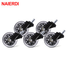 NAIERDI 5PCS 3 Office Chair Caster Universal Mute Wheel Rubber Soft Safe Rollers Replacement 60KG Swivel Furniture Hardware 5pcs durable grey furniture chair pu swivel caster wheel funiture replacement