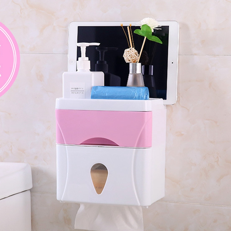 Bathroom Waterproof Tissue Box Plastic Bath Toilet Paper Holder Wall Mounted Paper Storage Box Double Layer Dispenser