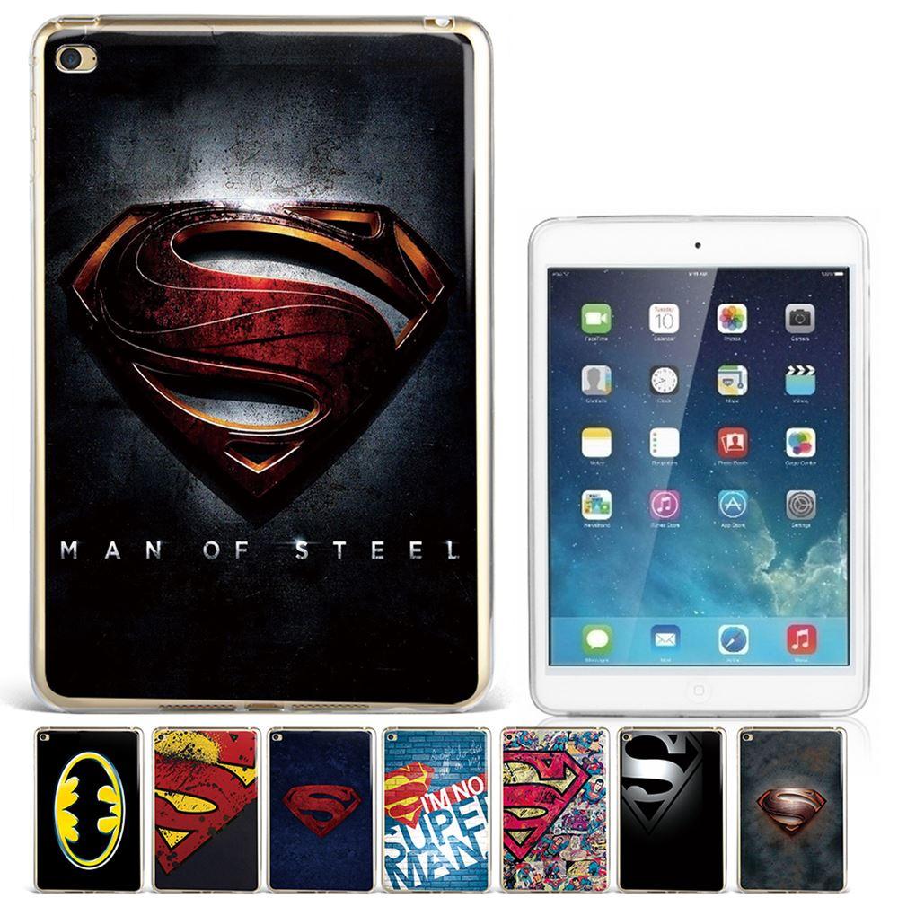 "Cool Fashion Superhero Superman Loge S Batman TPU Silicone Soft Light Tablet Case Cover For iPad 5 6th Generation 9.7"" Air 1 2"