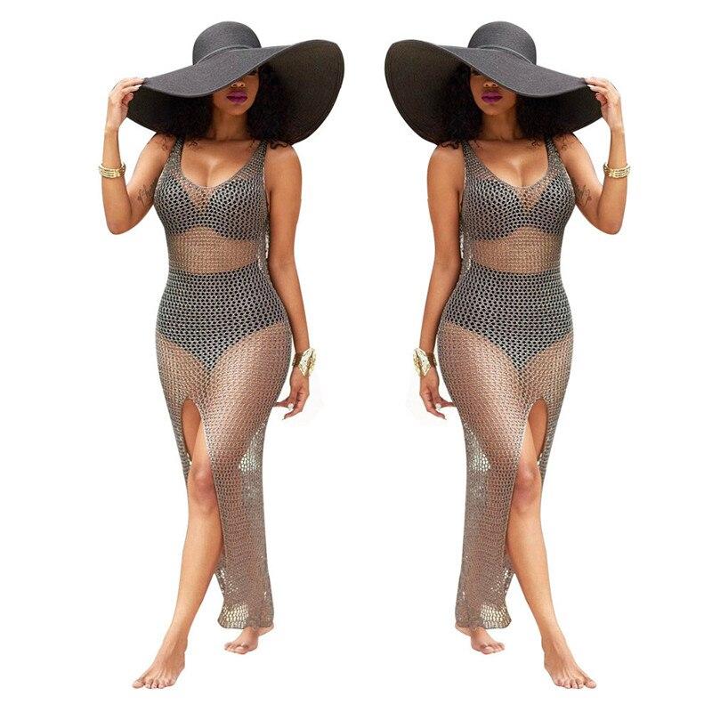 snowshine YLI Women Crochet Hollow Out Beach Bikini Swimsuit Bathing Swimwear Dress free shipping