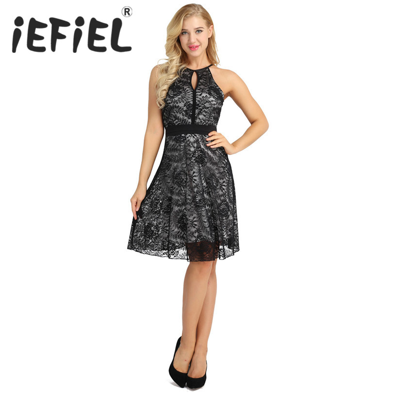 iEFiEL Women Ladies Elegant Floral Lace Overlay Halter Neck Sleeveless Keyhole A-Line Swing Party Dress Wedding Formal Dress